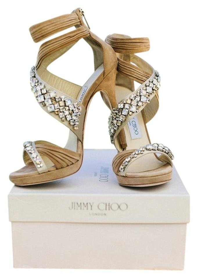 05e3a55d9ec Jimmy Choo Nude Kani Crisscross Platform Sandal Formal Shoes Size US ...