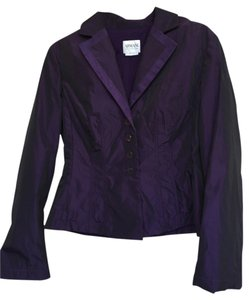Armani Collezioni Nylon Signature Buttons Detailed Seaming Deep Purple Blazer