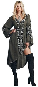 army green Maxi Dress by VfEmage Embroidered Boho Asymmetric Tunic