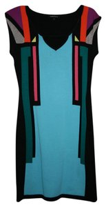 Nanette Lepore short dress Black Background with geometric pattern in Aqua, Orange, Gray, Chartreuse, Green and Taupe on Tradesy