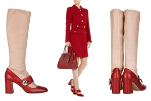 Prada Mary Jane Red & Nude Boots