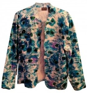 Chico's floral blue, white, turquoise, purple Jacket