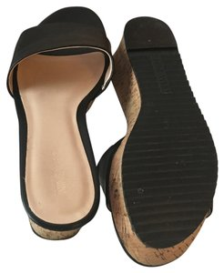 Nine West Leather Cork New Black Mules