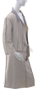 Chanel Authentic Women's Chanel Beige Polyester Belted Skirt Suit, Size 42 (13426)