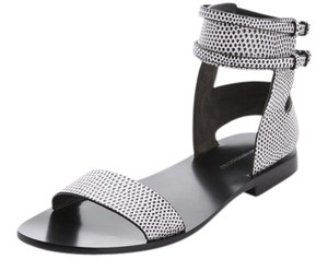 Alexander Wang White Black Sandals Leather Snake Flats