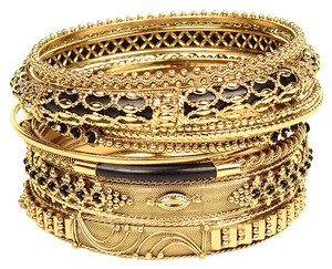 Amrita Singh AMRITA SINGH Belle Wider Bangle Set Black and Gold Choose S M or L