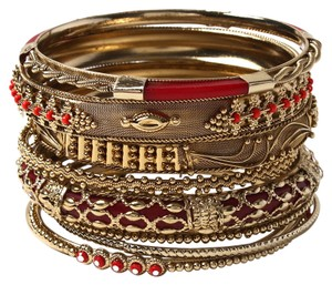 Amrita Singh AMRITA SINGH Belle Wider Bangle Set Ruby and Gold Choose S M or L