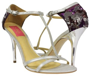 MS Shoe Designs Silver / Purple Pumps