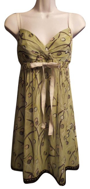 Item - Light Green Brown Pale Peach and Off-white. Bcbg Silk Drawstring Empire Waist Fully Lined Maxi Or S Short Casual Dress Size 4 (S)