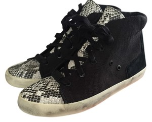 Sam Edelman Snakeskin Hi-top Canvas Leather Retro Black Athletic
