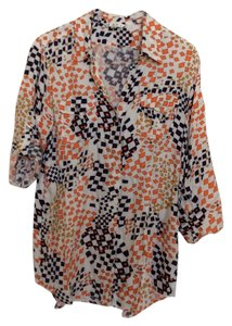 CAbi Button Down Shirt White/Orange/Purple/Carmel