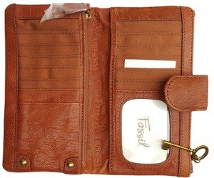 Fossil Leather Antique Accents Antique Brass Pleated Detail Wallets whiskey Clutch