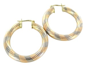 14KT SOLID KARAT YELLOW ROSE WHITE GOLD EARRINGS HOOP FINE JEWELRY RIBBED 5.1 GR