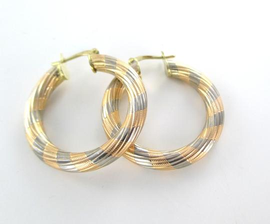 Other 14KT SOLID KARAT YELLOW ROSE WHITE GOLD EARRINGS HOOP FINE JEWELRY RIBBED 5.1 GR