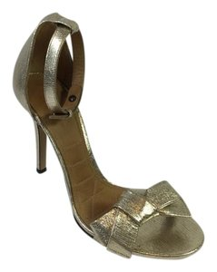 Isabel Marant Play Easy Metallic Bow Heel Gold Sandals