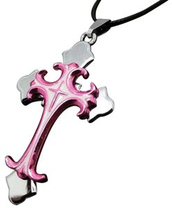 Other Pink Stainless Steel Cross 3D Necklace Free Shipping