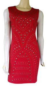 Romeo & Juliet Couture short dress Red Studded Stretch Mini on Tradesy