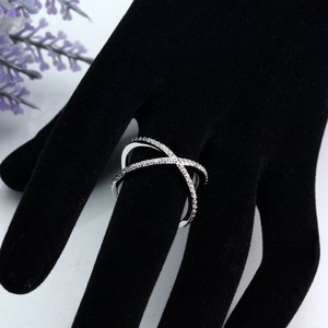 Criss Cross Rhinestone Silver Ring Free Shipping