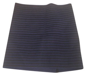 Pleasure Doing Business Mini Skirt Black and navy stripes