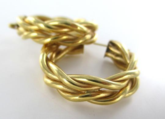 Other 14KT SOLID KARAT YELLOW GOLD EARRINGS HOOP FINE JEWELRY BRAIDED DESIGN BRAID