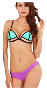 New Triangle Style Orange/Green Top Purple Bottom Bikini Bathing Suit Tag Medium (US 6-8)