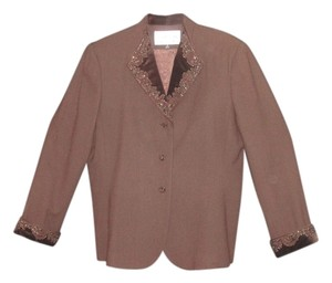 Albert Nipon Jacket has decorative buttons, velvet lapel and sleeve cuffs with beautiful beadwork on it