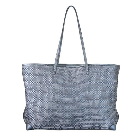 Fendi Leather Woven Woven Leather Tote in Platinum