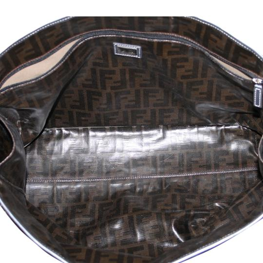 Fendi Leather Woven Leather Tote in Platinum
