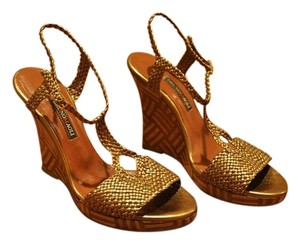 Bruno Magli Platform Gold Wedges