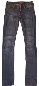 Comptoir des Cotonniers Leather Piping Skinny Jeans-Medium Wash