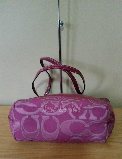 Coach Pockets Leather Sateen F19428 Tote in Fuchsia