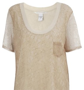 Diane von Furstenberg T Shirt tan with lace