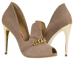 MS Shoe Designs Taupe Pumps
