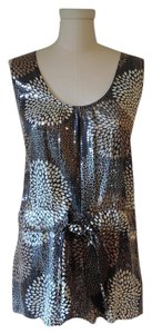 Tory Burch Silk & Micro Sequin New $595 Large Chrysanthemum Print Top black, ivory, camel