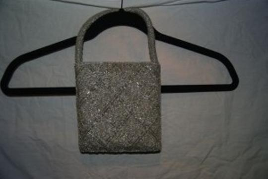 Nordstrom Bead Beaded Formal Formal Handbag Silver Clutch
