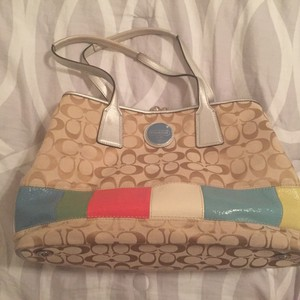 Coach Satchel in Tan/Multi