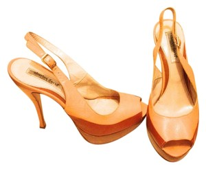 Charles David Peach and Dark Apricot Pumps