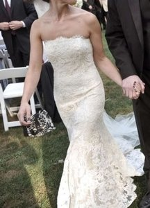 Monique Lhuillier Champagne with Ivory Lace Overlay Vintage Wedding Dress Size Petite 2 (XS)