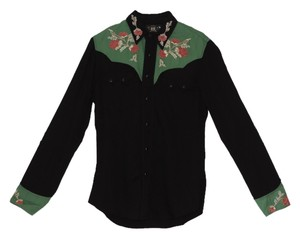 Ralph Lauren New With Tag Embroidered Country Western Button Down Shirt black & multi