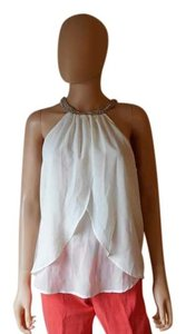 Alloy Apparel Beaded Neckline Flutter Top Ivory