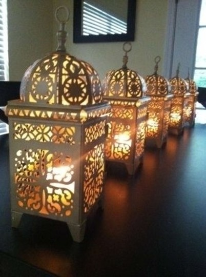 Gold 20 Gold-painted Lanterns with Shepherds' Hooks Votive/Candle