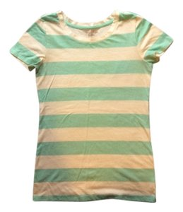 American Eagle Outfitters T Shirt White/Sea Foam Stripe