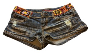Dollhouse Mini/Short Shorts Blue Jean, Multi-Color Belt Detail