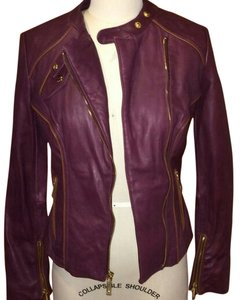 Michael Kors Burgundy Leather Jacket