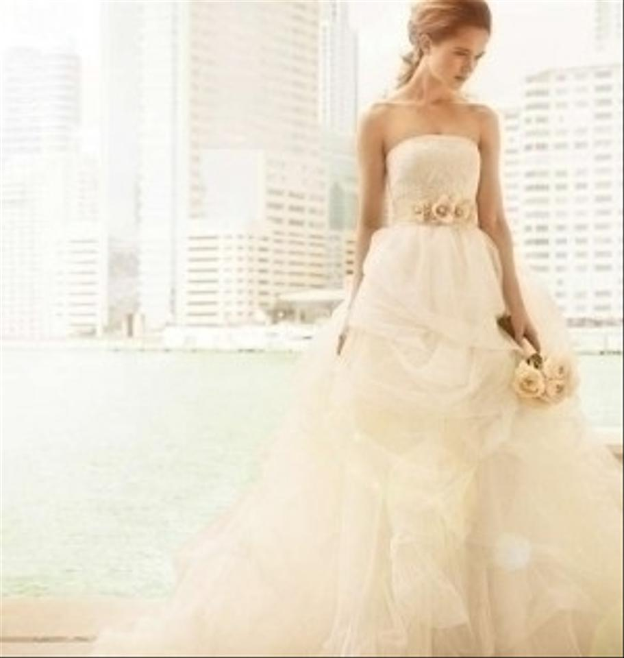 Vera Wang Ivory Ball Gown With Corded Lace Bodice And