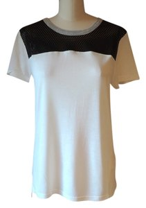 AIKO Ivory Knit Black Leather Accent T Shirt