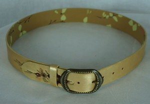 Other Inch Embroidered Leather Belt Distressed Metallic Gold And Wine