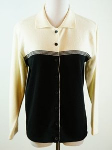 Other Miriam Joy Cashmere Cardigan Collar Black Ivory Sweater
