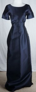 J.Crew Collection Gown Ava Silk Cotton Pockets Navy Dress