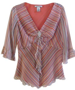 Nine West Top Peach, purple, ivory and black